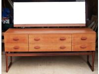 c1960s Vintage Teak G Plan Quadrille Dressing Table Sideboard Chest of Drawers