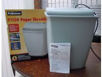 FELLOWES 11-SHEET PAPER SHREDDER MODEL: P1100 GD WORKING ORDER, BOX/INSTRUCTIONS