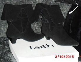 Faith Black Suede Boots Size 5