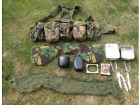 British army PLCE webbing in DPM pattern camouflage with accessories