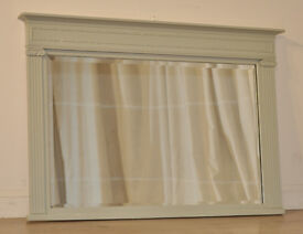 Attractive Antique Victorian Carved Painted Overmantle Bevel Edge Mirror