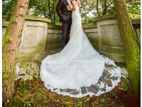 wedding dress- lace, ivory, size 8