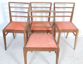 FREE DELIVERY - 4 Vintage Mid Century 1950s Oak Dining Chairs Possibly Heals Like McIntosh G Plan