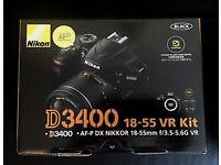 BRAND NEW Nikon D3400 DSLR Camera with AF-P DX NIKKOR 18-55mm f/3.5-5.6G VR Lens - Black