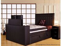 Superking size TV bed with ottoman storage