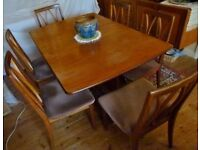 Vintage Teak G-Plan Dining Room table and 6 chairs