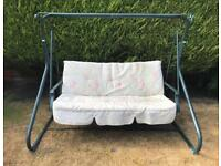 GARDEN SWING BENCH / SWINGING SEAT WITH CUSHION.