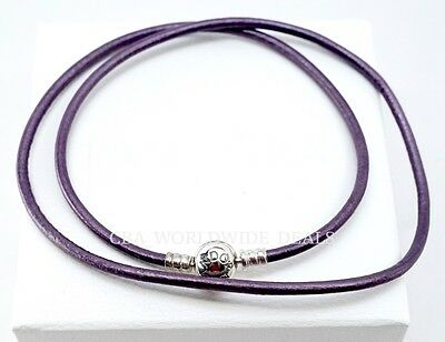 Triple Strand Leather - Authentic PANDORA Smooth Leather Purple Triple Strand Bracelet 590714CPE-T