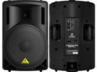 BEHRINGER 215D 550WATT 2-WAY PA SPEAKER SYSTEM | GORILLA STANDS, CABLES + SPARE FUSES