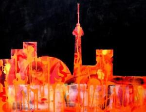 TORONTO SKYLINE Original Painting Art Valerie Koudelka Oakville 905-510-8720 Abstract Orange Black / CN TOWER / 24x30