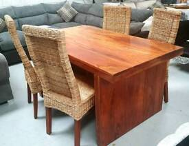 Solid jalhi wood dining table and 4 high back chairs