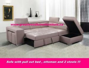 ** SECTIONAL SOFA BED WITH OTTOMAN AND STOOLS..$1299 ONLY **