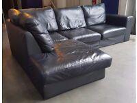 SCS Real Black Leather L Shape Corner Sofa