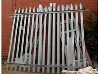 x3 Galvanised Steel Palisade Security Fencing Fence Panels. H 2.4m x W 2.7m