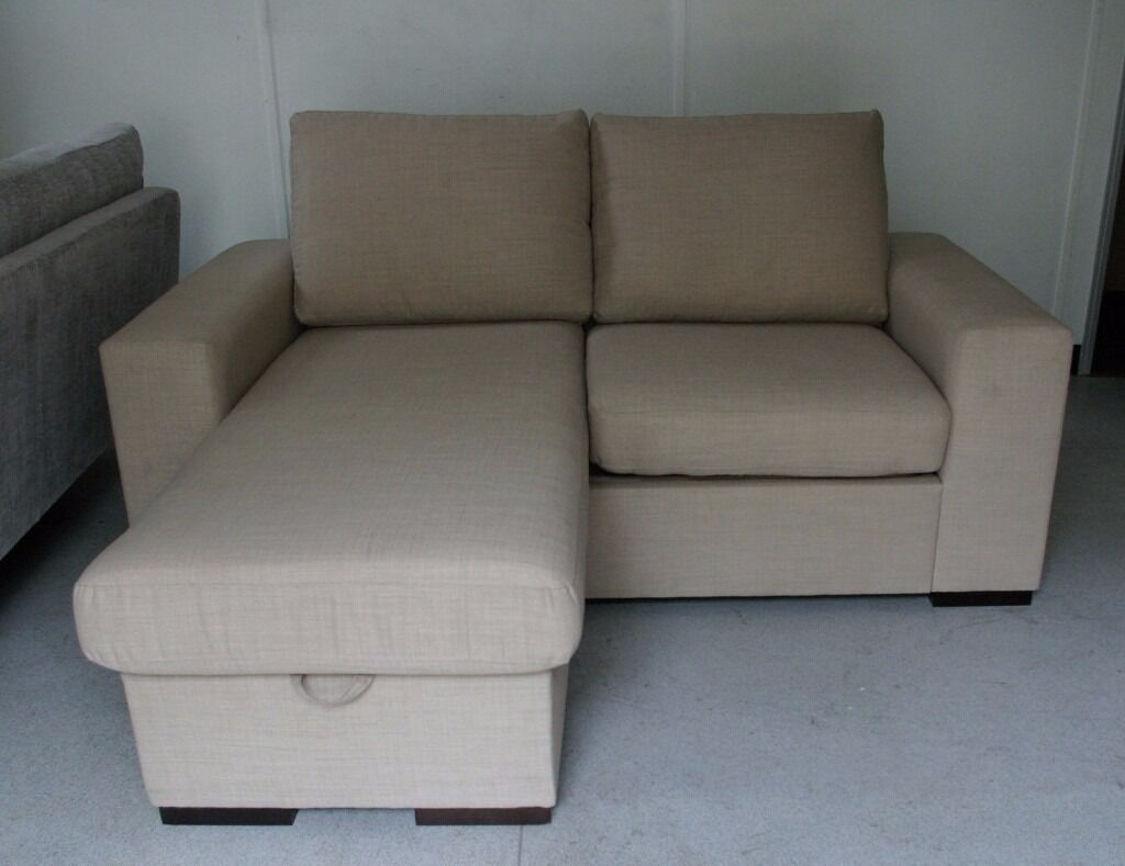 Sofa World Small Chaise Bed With Storage Footstool Beige Only 195