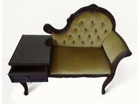Rococco Style Chesterfield Telephone Chair / Table Velvet/Mahogany GREAT CONDITION