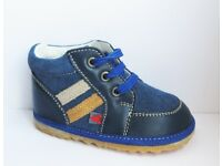 NEW First Soft Leather Baby Shoes - Indoor/Outdoor Walking - Size 4 UK / 20 EU (Blue)
