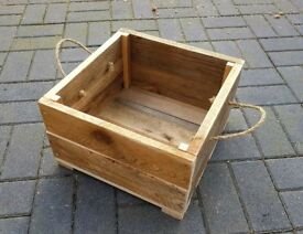 Hand-Made Rope Handled Wooden LOG BOX