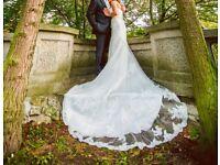 Lace wedding dress, ivory, size 8