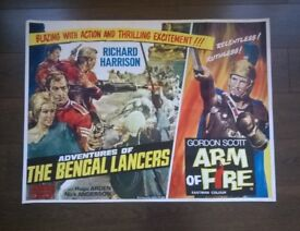 adventures of the bengal lancers ' arm of fire ' original 1960s cinema poster