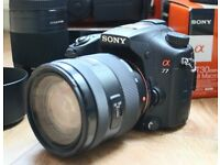 Sony Alpha SLT-A77V 24.3MP Digital SLR Camera with many extras in the bundle