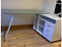 Office Desk (glass with storage)