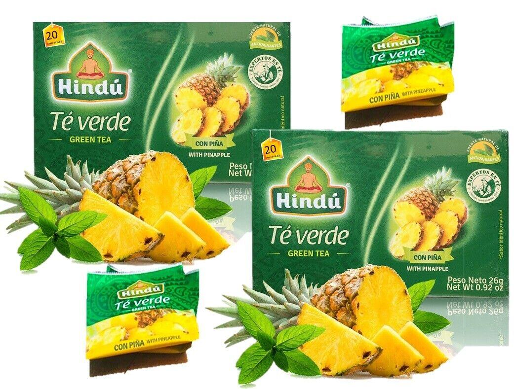 2 Hindu Green Tea with Pineapple Flavor 40 count te verde te de piña 2 packs