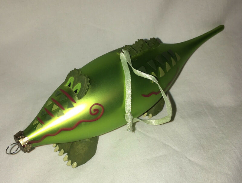 Glass Painted ALLIGATOR Christmas Ornament