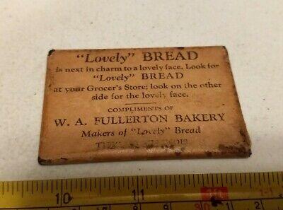 Vintage Lovely Bread W. A. Fullerton Bakery Illinois? Advertising Pocket Mirror