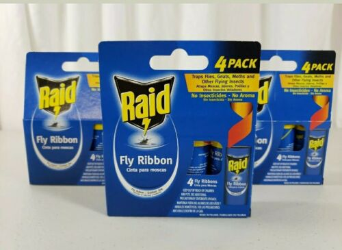 4 Boxes Raid FLY RIBBON GLUE TRAPS For Indoor & Outdoor No
