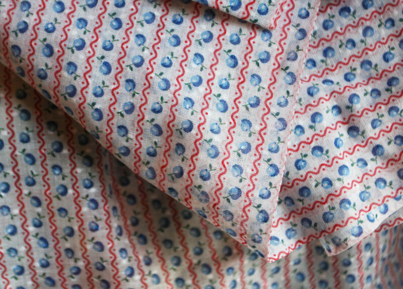 Vtg Fabric Dotted Swiss Fruit Novelty Blue Apple Peach Red Stripe White Dots