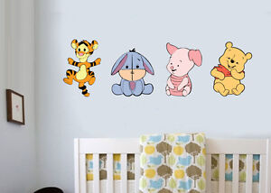 Baby Winnie The Pooh Pack Of 4   Wall Art Stickers Piglet Tigger Bedroom  Decals Part 84