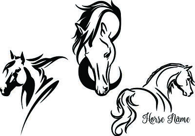 Three Horse Theme Decal Equine Love Custom Name Window Bumper Sticker Car Decor (Car Themed Decor)