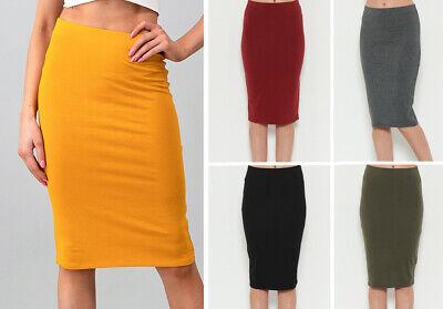 S M L Women's Solids Basic Stretch Cotton Knee Length Midi Pencil Long Skirt
