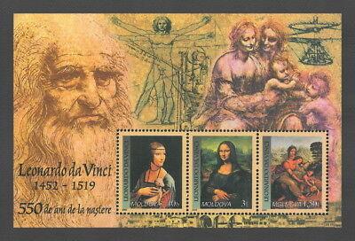 Moldova 2002 Art Mona Lisa / 550th Anniversary of Leonardo da Vinci MNH block