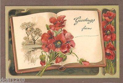 Vintage Postcard UNUSED GREETINGS EMBOSSED POPPIES