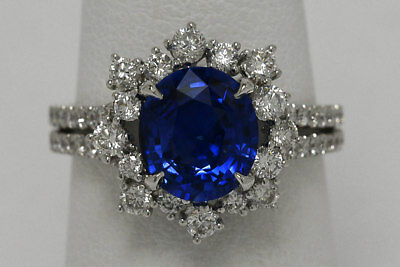 Oval Blue Sapphire Diamond Halo White Gold Vintage Neoclassical Engagement Ring