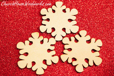25 qty 2 inch Snowflake Wood Christmas Embellishments Crafts Ornaments Decor DIY