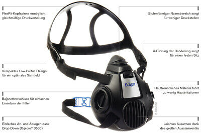 NEU inklu.1 Paar FFP3 Filter Dräger X-plore 3500 (L) Zweifilter- Halbmaske Maske