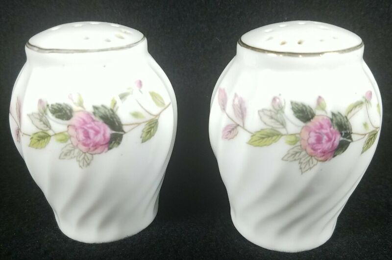 Pink Flower Salt And Pepper Shakers Ceramic White Eggshaped Twisted See Pictures