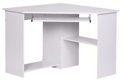 Eckschreibtisch Büro Schreibtisch Computertisch Weiß mit Ablage PC Neu