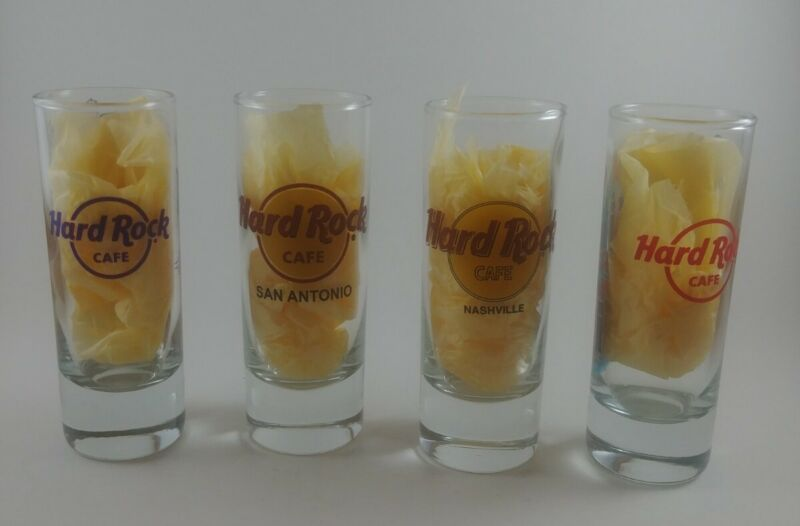 "Set of 4 ~ Hard Rock Cafe Double Shot Glasses ~ 4"" Tall ~ Various Cities"