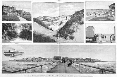 Norderney, Sammelblatt mit Panorama-Ansicht, Riesen-Holzstich von ca. 1890