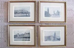 Set of 4 Black & White Historic Town Scenes Framed Print Sketches Hallett Cove Marion Area Preview