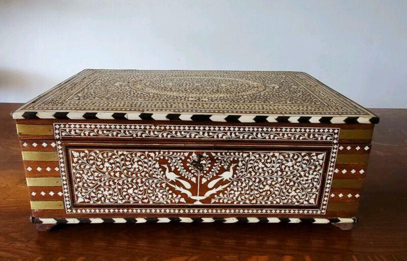 Hoshiarpur Work /Box - Inlaid Wood - India Antique - 19th Century