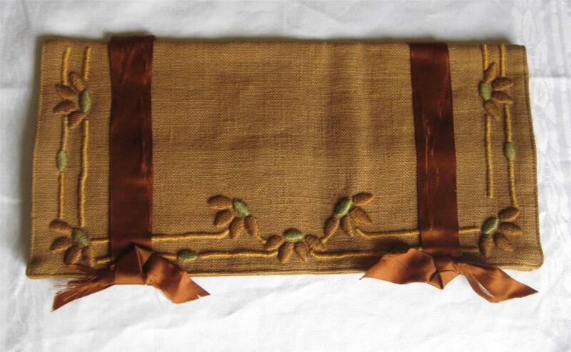antique ARTS & CRAFTS Embroidery BROWN LINEN Desk FOLDER Purse Sewing unused