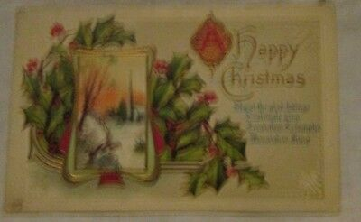 vintage antique christmas post card postcard die-cut church holly  Worecester