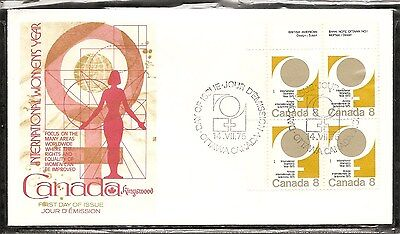 Canada SC # 668 International Women Year FDC.Inscription BLK4 .Kingswood Cachet