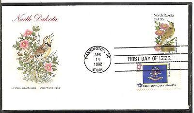 US SC # 1986 State Birds And Flowers ( North Dakota ) FDC. Combo. HF Cachet .