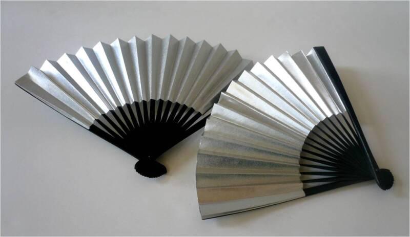 "Set of 2 Japanese 7""L Silver Decorative SENSU Fan/Home & Decor/Small"